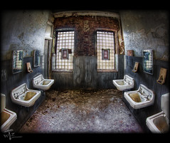 """Rubbing Elbows"" (Theaterwiz) Tags: abandoned vintage decay landmark historic haunted creepy fisheye civilwar westvirginia paranormal asylum weston topaz criswell rustyandcrusty historiclandmark promote photomatix westonwv wrecksandruins canon7d transalleghenylunaticasylum 11exposures topazadjust promotecontrol theaterwiz theaterwizphotography michaelcriswell"