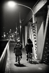 commuting is better with friends (StephenCairns) Tags: bridge blackandwhite bw bike japan night shadows highschool explore cycle commute pairs  uniforms  gifu highschoolgirls      highschoolstudents    canon50d    50dcanon  aftercramschool