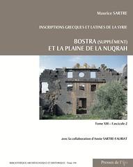 Inscriptions grecques et latines de la Syrie. Bostra (supplément) et la plaine de la Nuqrah (couverture)