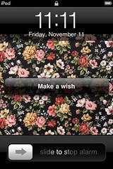 Make a Wish (Alarelyn) Tags: flowers alarm apple floral screenshot ipod background mp3 screencap hopes wish 1111 wishing 111111 makeawish floralbackground november112011
