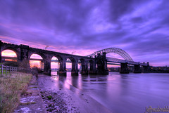 Mersey Crossing (Jeffpmcdonald) Tags: uk bridge cheshire runcorn widnes rivermersey silverjubileebridge britanniabridge nikond80 runcornrailwaybridge jeffpmcdonald ringexcellence dblringexcellence tplringexcellence nov2011 flickrstruereflection1 flickrstruereflection2 flickrstruereflection3 flickrstruereflection4 flickrstruereflection5 eltringexcellence ethelfledabrige