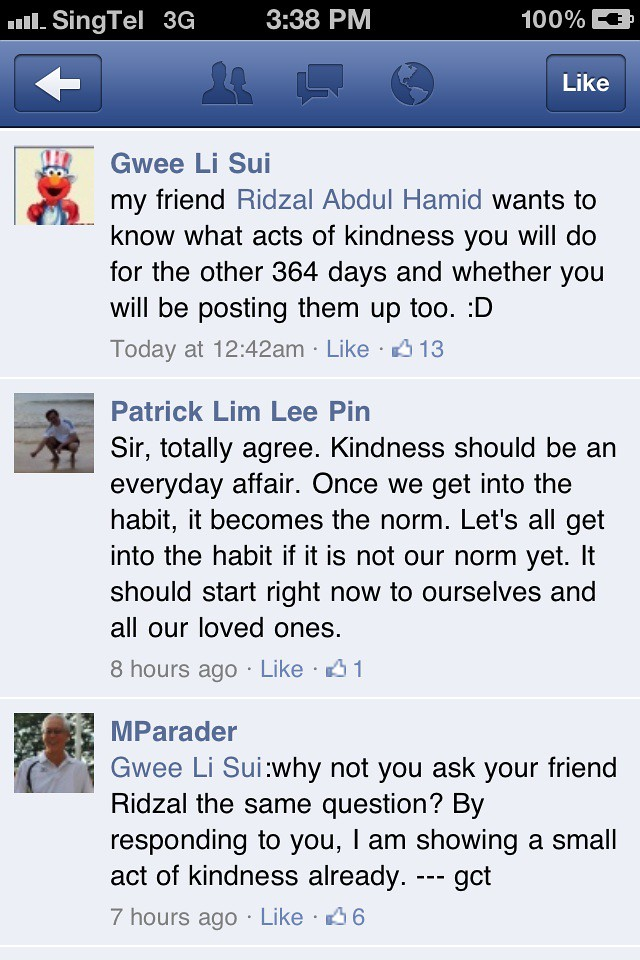 """Example of performing """"a small act of kindness"""""""