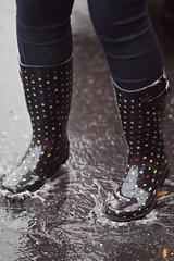 Splashin' (EricaKate) Tags: color feet rain puddle virginia shoes colorful boots polkadots splash dots harrisonburg rainboots easternmennoniteuniversity