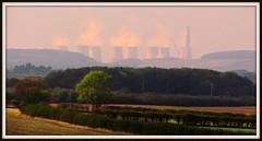 Fields and Industry (Dazzygidds) Tags: uk england rising smoke steam textures layers gotham rolling nottinghamshire undulating notts bunnyoldwood rollinglandscape bunnywood ratcliffeuponsoarpowerstation