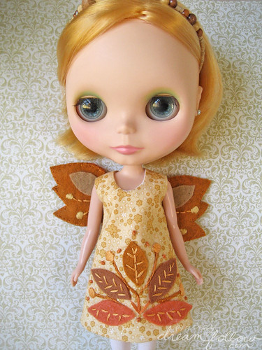 leaf pile autumn fairy dress