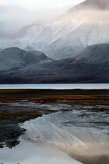 Misty Arctic estuary  Rob Watkins (Aland Rob) Tags: sea cloud mist mountain snow water fog high mud low svalbard arctic fjord spitsbergen longyearbyen