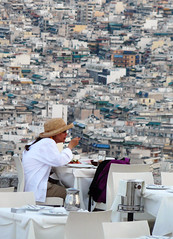 Dinner for one (duqueros) Tags: city dinner essen view eating hellas scene athens greece stadt aussicht frau dame griechenland abendessen athen duqueiros musictomyeyeslevel1