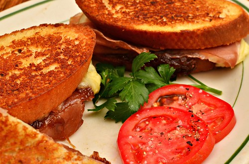 Mmm... Grilled cheese - provolone, prosciutto, balsamic onion jam