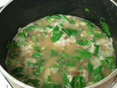 11.6.11 white bean soup 4 (thesaucycoconut) Tags: potatoes corn garlic peas onion spinach whitebeans veggiebroth