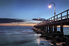 Port Melbourne Pier at Twilight (Ranga 1) Tags: ocean nightphotography sunset sea summer nature night clouds lights pier twilight fishing nikon australian australia melbourne victoria portphillipbay davidyoung tokina1224mmf4 portmelbpurne