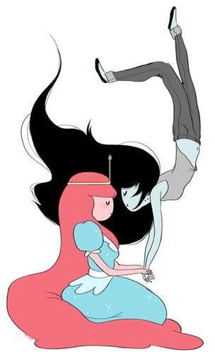 Bubblegum is seated as Marceline floats towards her, it looks like an intimate moment between these two cartoon characters.