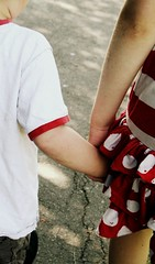 (mollypj) Tags: red hand pavement young holdinghands hold reddress