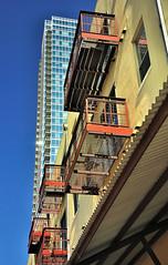 Balconies and Buildings (thor_mark ) Tags: cities blueskies project365 colorefexpro nikond90 balconywindows gableswestavenuearea springcondominiumbldg
