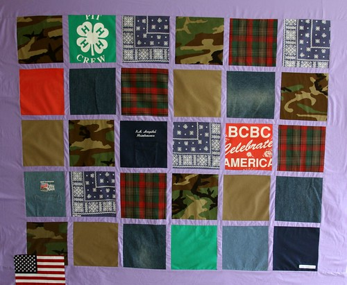 Custom Memory Quilt made from Army Uniforms, T shirts and jeans
