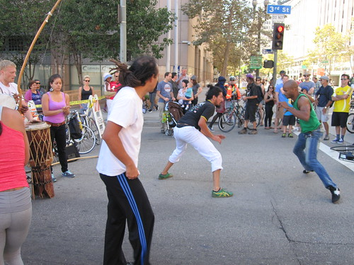 Capoeira on Spring Street during CicLAvia on October 9, 2011
