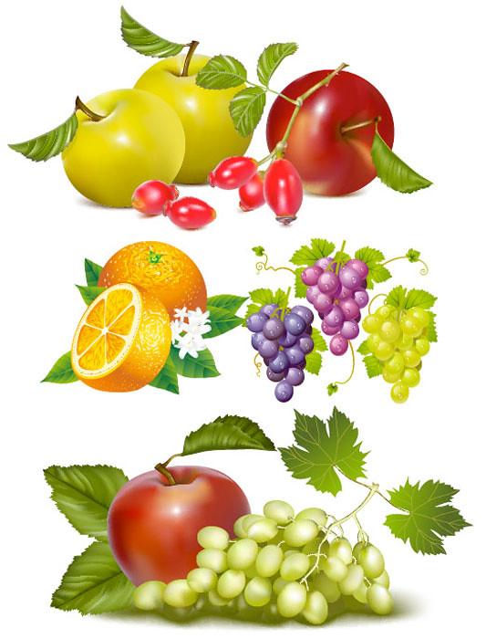 Manzanas, Uvas y Naranjas en Vector