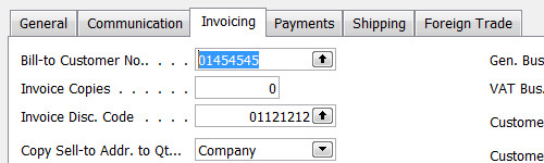 Customer card, Invoicing tab. CTRL+PageDown