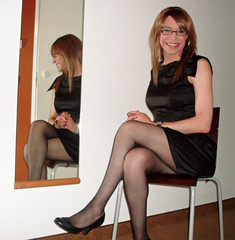 On reflection... (Starrynowhere) Tags: black glasses dress emma tights tgirl transgender tranny transvestite crossdresser
