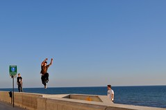 freerunner 1 (fionatkinson) Tags: sea summer england sky wow sussex amazing jumping brighton running freerunning walls leaping clever ovingdean parcor