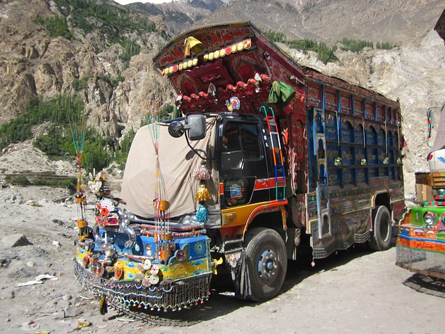 A well decorated Pakistani truck.
