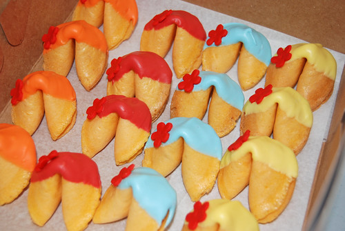 chocolate dipped fortune cookies for a Ni Hao Kai Lan party