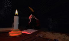 The Love Letter (Butterscotch Decosta) Tags: world pictures life game girl animal female writing fur photo screenshot scary furry alone candle jackal image photos random avatar dar snapshot egypt picture pic images creepy sl 2nd note secondlife virtual online second attic candlelight write erie img av anubis anthro 2ndlife furrie inworld furreh