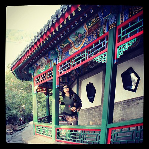My Ling posing below the hand painted traditional architecture at #BeihaiPark in #Beijing #China. #obievip  #obievip_china by ObieVIP