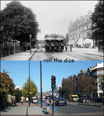 Balham High Road`1906-2011 (roll the dice) Tags: old uk bridge autumn trees london art history classic church war traffic south transport rail chapel collection local streetfurniture blitz past changes clapham 1904 wandsworth edwardian balham oldandnew tooting pastandpresent londonist bygone hereandnow sw12 stationparade