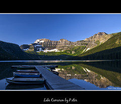 Lake Cameron (pDOTeter) Tags: lake canada reflection boat jetty tranquility cameron alberta rowboat watertonnationalpark rowingboat cameronlake perfectbluesky perfectreflection lakecameron ayrphotoscontestlandscape