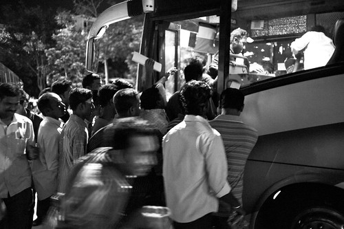 It wasn't always so orderly. The buses that drove into a small road further from the main road do not enjoy orderly queues.