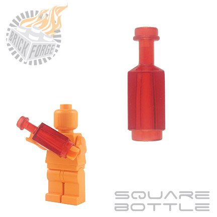 Square Bottle - Trans Red