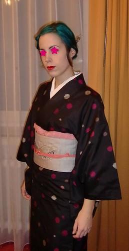 Polka Dot Kimono With Carp Obi by Haruyuri