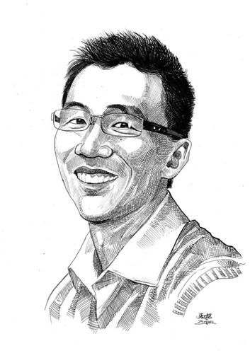 portrait in pen and brush of Dr. Kwong Chow