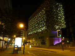 Borg Cube by Night (Richard Cartawick) Tags: sheffield carpark carparks cheesegrater borgcube charlesstreetcarpark stpaulscarpark