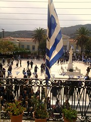 28 OCTOBER, THE GREEK FLAG (dimitra_milaiou) Tags: world life above street city flowers blue houses people woman white house man flower color colour love colors architecture walking island greek freedom design hall nokia war europe day colours child action walk balcony flag aegean hellas lifestyle parade greece hora memory emotions bianco chora andros cyclades 2010 oxi dimitra x6 μπλε kyklades ελλαδα οχι horaandros παρελαση aigaio ανδροσ χρονια επετειοσ δημητρα milaiou δημητραμηλαιου μηλαιου dimitramilaiou