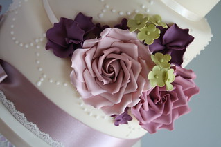 Romantic pearl & rose wedding cake by Cotton and Crumbs