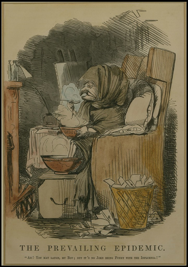 engraving of old person sitting in chair