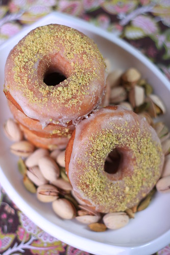 Vegan Doughnuts with Cardamom-Pistachio Glaze