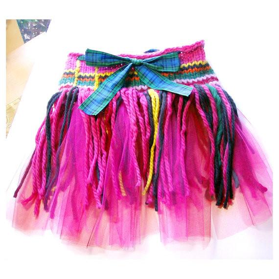 Hand Knit Pink Tartan Tutu