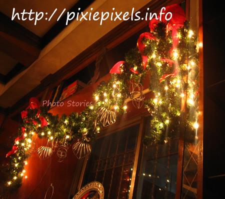 Christmas garland window dressing