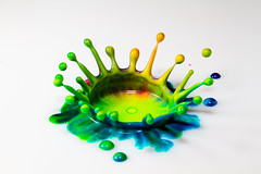 Color Xplosion (Franois Doroth) Tags: color colour colors milk droplets drops couleurs flash cream drop drip explore droplet lait crown drips splash dye couleur colouring goutte collision crme foodcolouring fooddye foodcolor gouttes flashes highspeedphotography couronne colorant gouttelettes explored strobist gouttelette cameraaxe