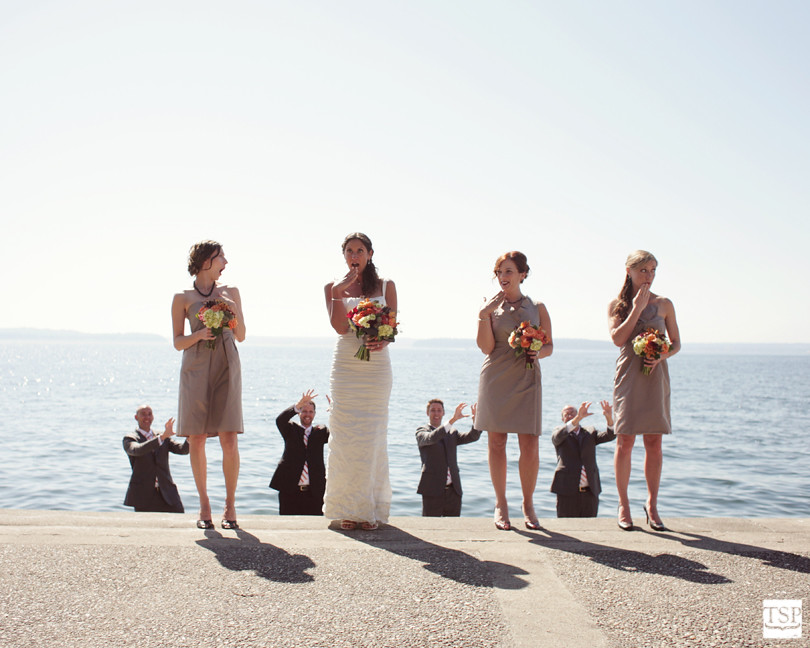 Groomsmen Grabbing Bridesmaids