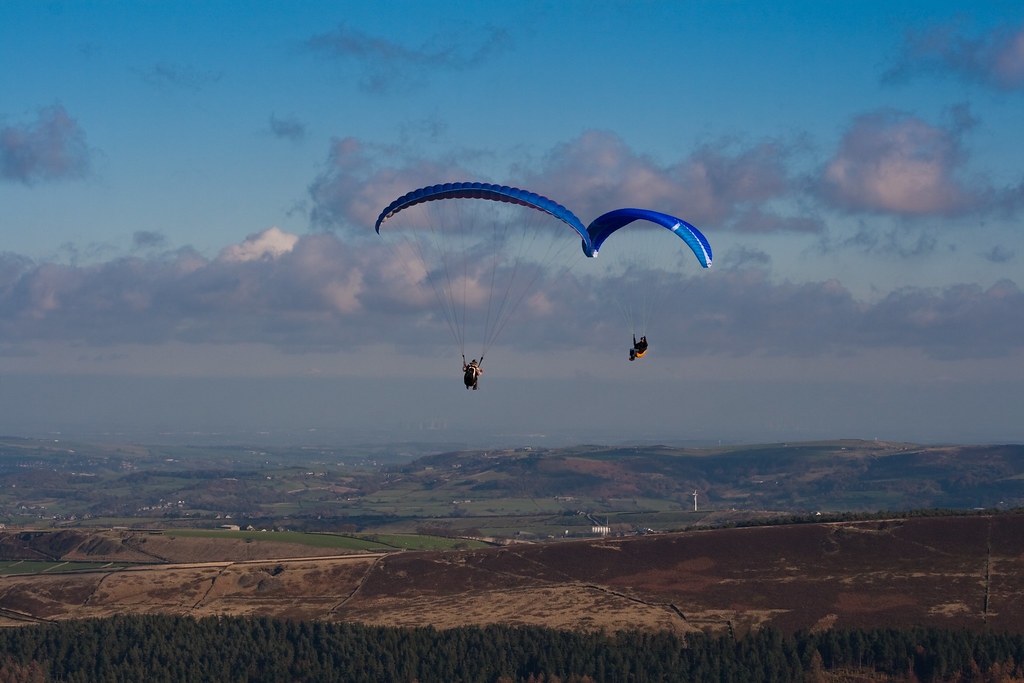 Paragliders above Holmfirth