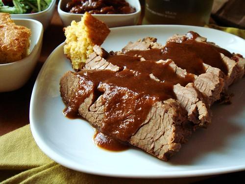 Barbecued Beef Brisket, Sauced