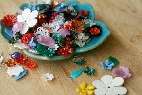 lucite and plastic flowers