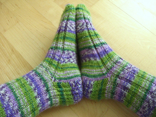 purple and green socks