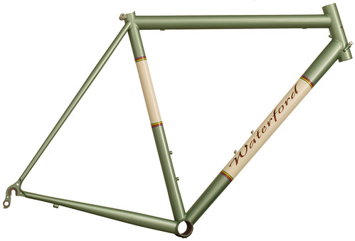 <p>This frame has the performance to support any kind of racing with the styling of the classics.  Chameleon metallic with vanilla shake panels.  The world champ stripes make a great panel border (and yes, Waterford earned them through World Masters Track Champion Richard Widmark).  The rider had our logo painted in Iron Ore Metallic) 62393</p>