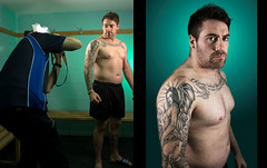 Shooting The Shot (Richard Amor Allan) Tags: portrait tattoo diptych manchesterphoenix ryanjohnson richardallan yolandaamor extremechallengemania