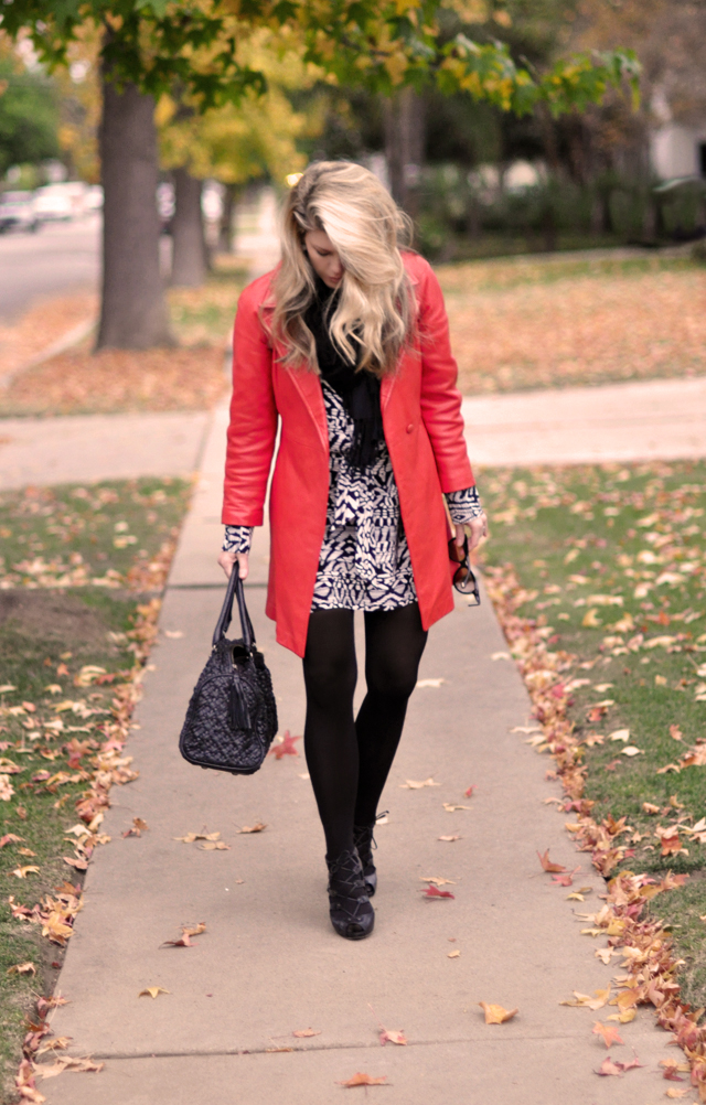 vintage red  leather coat  and black tights-black and white print dress