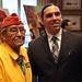 Navajo Code Talker Frank Chee Willeto and Josh Pitre, SCIA staffer meet following a video presentation and and a speech by Mr. Willeto. The event hosted by the U.S. Senate Committee on Indian Affairs (SCIA) highlighted Native American's contribution to military service in honor of Veterans Day and National American Indian & Alaskan Native Heritage Month. Wednesday, Nov. 16, 2011. Photo by Jared King / NNWO.  This Navajo Nation Washington Office photograph is being made available only for publication by news organizations and/or for personal use printing by the subject(s) of the photograph. The photograph may not be manipulated in any way and may not be used in commercial or political materials, advertisements, emails, products, and promotions.